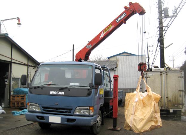 移動式クレーン車による回収